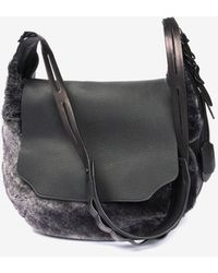 Rag & Bone Bradbury Shearling Leather Flap Hobo Grey - Lyst