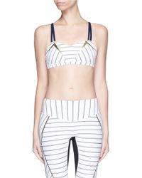 Lucas Hugh 'Nordica' Pinstripe Balcony Sports Bra white - Lyst