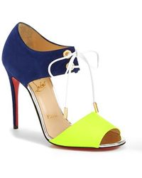 Christian Louboutin Tie-Up Leather Sandal blue - Lyst