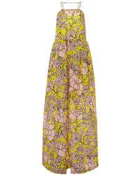 MSGM Floral Silk Maxi Dress - Lyst