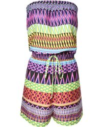 Jane Norman Aztec Bandeau Playsuit - Lyst