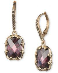 Judith Jack - 10k Gold-plated 925 Sterling Silver, Marcasite And Faux Amethyst Drop Earrings - Lyst