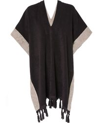Lisa Marie Fernandez Black and Taupe Beach Poncho - Lyst