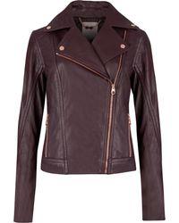 Ted Baker Leather Biker Jacket - Lyst