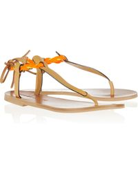 See By Chloé Raffiatrimmed Leather Sandals - Lyst