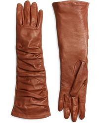Brooks Brothers Brown Leather Gloves - Lyst