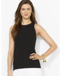 Ralph Lauren Lauren Sleeveless Lace Knit Top - Lyst