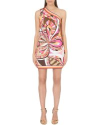 Emilio Pucci Asymmetric Printed Satin Dress - Lyst