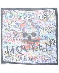 Alexander McQueen Square Scarf white - Lyst
