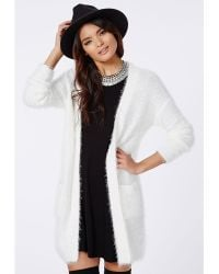 Missguided Ceris Knitted Fluffy Cardigan Cream - Lyst