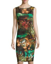 Teri Jon Floral-Print Sleeveless Cocktail Dress - Lyst