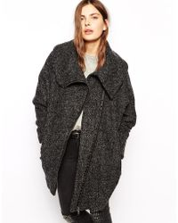 Just Female Textured Coat With Oversized Collar - Lyst