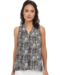 Vince Camuto Sleeveless Etching V-Neck Blouse W/ Front Pleat - Lyst