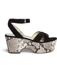 Michael Kors 'Ariel' Snake Effect Leather Wedge Suede Sandals animal - Lyst
