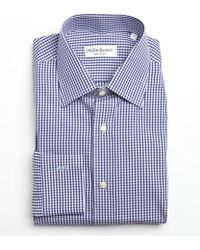 Saint Laurent Navy and White Gingham Cotton Point Collar Dress Shirt - Lyst