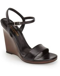 Saint Laurent Women'S 'Jane' Leather Wedge Sandal - Lyst