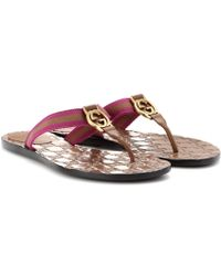 Gucci Purple Logoembossed Sandals - Lyst