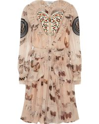 Givenchy Butterfly-print Silk-chiffon Dress - Lyst