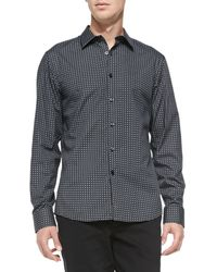 Michael Kors Gray Square-check Shirt - Lyst