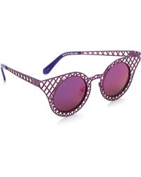 House of Holland Cagefighter Sunglasses - Purple/Purple Mirror - Lyst