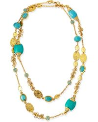 Jose & Maria Barrera Long 24K Gold Plate & Turquoise Necklace - Lyst