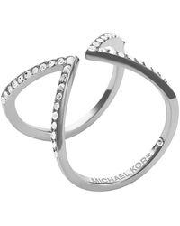 Michael Kors Silvertone Crystal Open Arrow Ring - Lyst