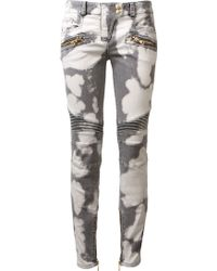 Balmain Grey and Ecru Biker Jean - Lyst