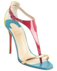 Christian Louboutin Fuchsia Patent Leather and Lime Suede T-strap Pumps - Lyst