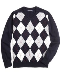 Brooks Brothers Cashmere Argyle V-neck Sweater - Lyst