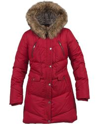 Halifax Traders - Quilted Coat With Asymetric Zip And Faux Fur Hood - Lyst