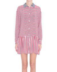 RED Valentino Striped Crepe De Chine Dress - Lyst