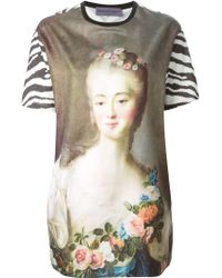 Emanuel Ungaro Portrait And Zebra Print T-Shirt - Lyst