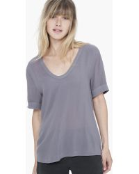 James Perse Contrast Viscose Chiffon V-Neck - Lyst