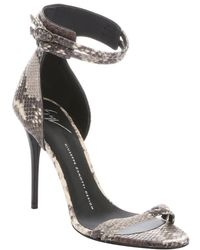 Giuseppe Zanotti Taupe Python Embossed Leather 'Coline 10C' Stiletto Sandals - Lyst