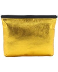 L.A.M.B. Gold Metallic Leather 'Fallon' Oversized Clutch gold - Lyst
