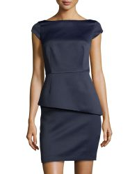 Halston Heritage Satin Cap Sleeve Peplum Dress - Lyst