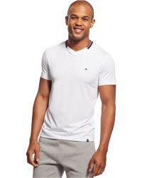 Tommy Hilfiger Collar Stripe V-Neck T-Shirt white - Lyst