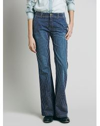 Free People Womens Raleigh Striped Relaxed Flare - Lyst