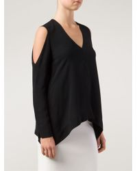 Yigal Azrouël Slit Shoulder T-Shirt - Lyst