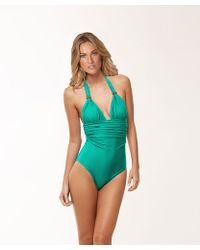 Vix Solid Green Bia One Piece - Lyst