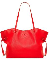 Tory Burch Marion Leather-Strap Slouchy Tote - Lyst