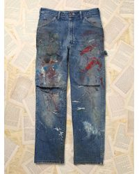 Free People Vintage Paint Splattered Dickies Denim Pants - Lyst