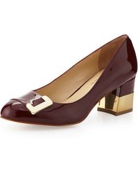 Andrew Stevens - Alessa Patent Kid Leather Pump Wine - Lyst