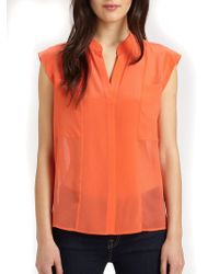BCBGMAXAZRIA Addison Sheer Silk Blouse - Lyst