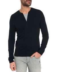 Ikks Knitted Navy Sweater - Lyst