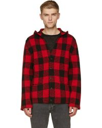Saint Laurent Red and Black Tartan Hooded Cardigan - Lyst