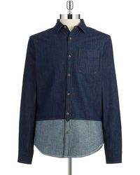 Original Penguin Colorblocked Chambray Shirt - Lyst