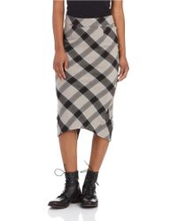Free People Plaid Pencil Skirt - Lyst
