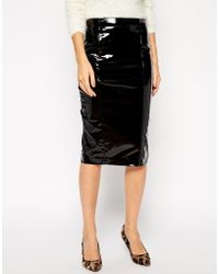 Asos Tall Pencil Skirt In Patent Pu - Lyst