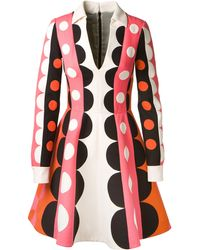 Valentino Crimson and Pink Pop Art Patterned Wool and Silk Dress - Lyst